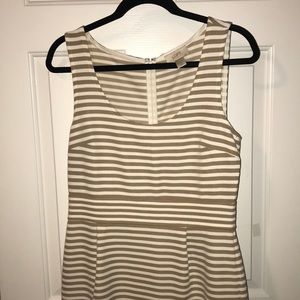 Loft Cream and Tan Striped Dress